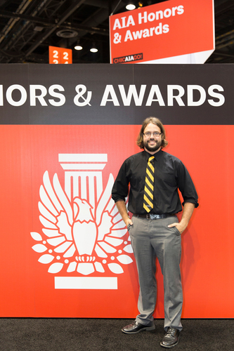 SCAD Master of Architecture student, Adam Drummond, at the AIA Convention in Chicago. Drummond was selected as ...