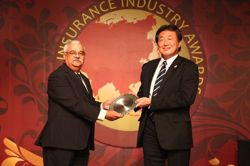 PR NEWSWIRE EUROPE - K.R. Pherwani, Principal Officer, M.I.B.L. receiving the award from Mr. Tsutomu Terayabashi, MD of Tokio Marine Asia Pte Ltd. at the Asia Insurance Awards function (PRNewsFoto/Mahindra _ Mahindra)