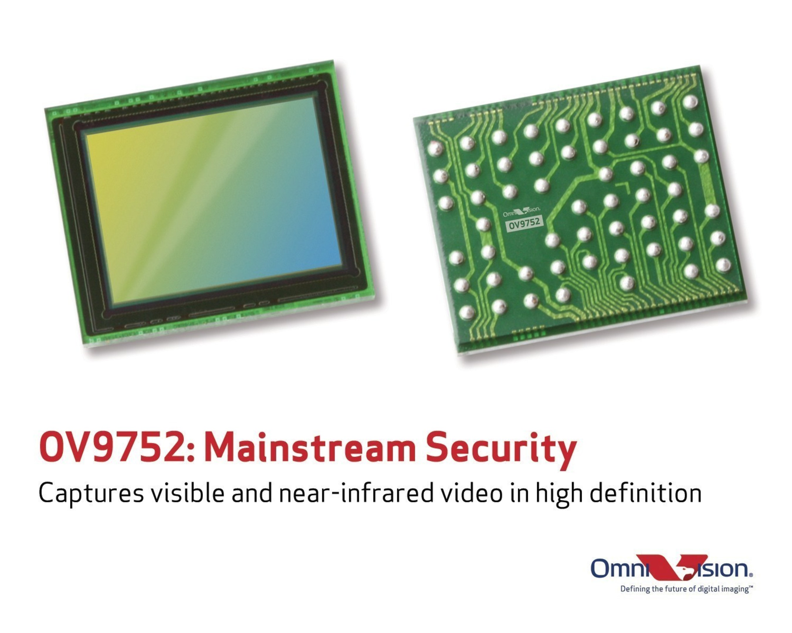 OmniVision's OV9752 CameraChip(TM) sensor captures visible and infrared HD video.