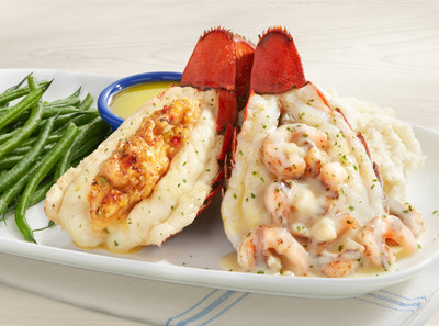 During Red Lobster's Lobsterfest, choose from the largest variety of lobster dishes on the menu, including Lobsterfest exclusives like Dueling Lobster Tails- two Maine lobster tails, one roasted and topped with tender shrimp in a creamy garlic sauce, the other golden-baked with crab-and-seafood stuffing.