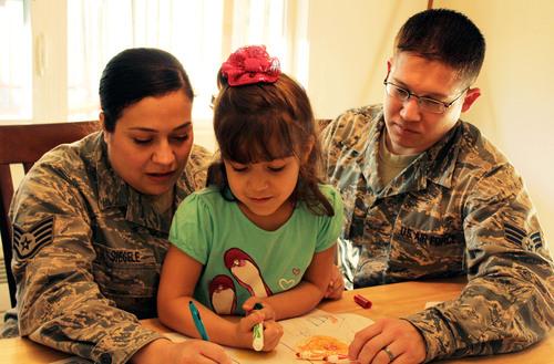 Staff Sgt. Sabrina Siegele and Senior Airman Matt Siegele, an Air Force couple at Joint Base Lewis-McChord, ...