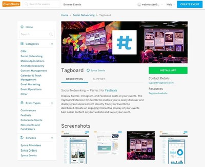 Tagboard and Eventbrite partner to simplify social integrations for events www.Tagboard.com.