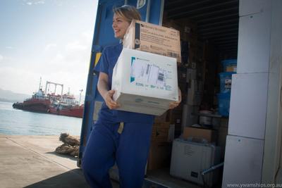 """Henry Schein Cares Helps """"Youth With A Mission Medical Ships Australia"""" Set Sail. Company Donates Supplies To Help Serve Those In Need In Papua New Guinea. (PRNewsFoto/Henry Schein, Inc.) (PRNewsFoto/)"""