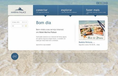 Welcome portal page at Hotel Marina Palace, Brazil