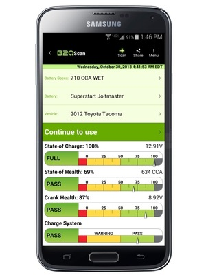 B2Q Technologies Inc.'s now popular B2QScan App is now available on Android platforms via the Google Play Store.  Come to www.b2qtech.com to see all of B2Q's industry first solutions and to understand the future of lead acid battery testing for autos, trucks, golf carts, and much more. (PRNewsFoto/B2Q Technologies)