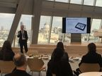 Michael Dall, Lead Economist at Barbour ABI, presenting at 240 Blackfriars, UBM's new global headquarters