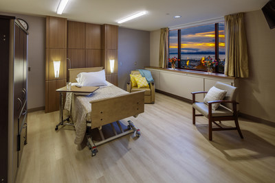 The Providence Hospice Care Center in Everett, WA has 16 private patient rooms. Each room includes a chair that pulls out into a comfortable bed so loved ones can spend the night while the patient receives 24/7 hospice nursing care.