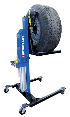 The new MW-500 Mobile Wheel Lift from Rotary Lift allows one technician to complete the difficult job of removing wheels and tires from heavy-duty vehicles, increasing shop productivity. The wheel lift can remove and position any size wheel or tire weighing up to 500 pounds, making it much easier and more ergonomic for technicians to work on heavy-duty trucks, buses and construction equipment.  (PRNewsFoto/Rotary Lift)