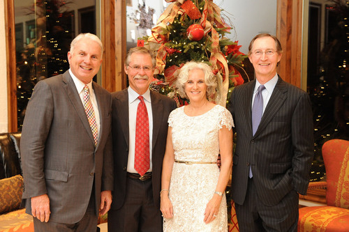 Celebrating at the leadership dinner for new Texas Children's Hospital in The Woodlands are (L to R) Texas Children's Hospital President and CEO, Mark Wallace, with hosts Phil and Carol Garner and Gary Whitlock.  (PRNewsFoto/Texas Children's Hospital)