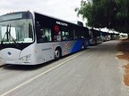BYD Electric Buses staging for shuttle service