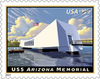 U.S. Postal Service honors USS Arizona Memorial, shrine commemorated on stamp today.  (PRNewsFoto/U.S. Postal Service)