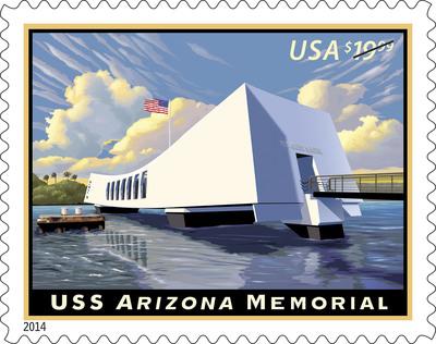 U.S. Postal Service honors USS Arizona Memorial, shrine commemorated on stamp today.  (PRNewsFoto/U.S. Postal Service)