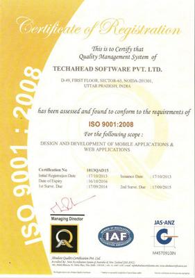 ISO Certification.  (PRNewsFoto/TechAhead Software)