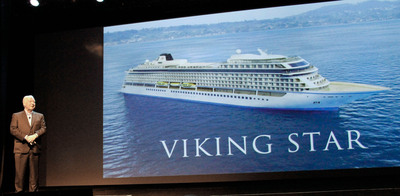 Viking Cruises Chairman Torstein Hagen unveils the company's first ocean ship, Viking Star, which will sail destination-focused itineraries in Scandinavia, the Baltics and the Mediterranean starting in May 2015.  (PRNewsFoto/Viking Cruises)