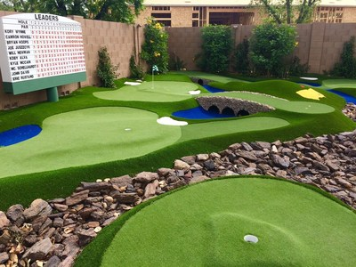 Artificial grass putting course installation by PuttTek.