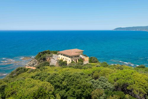 Villa Godilonda (Castiglioncello, Italy) From the top with panoramic view of the Castiglioncello Sea ...