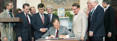 President George H.W. Bush signs the National Literacy Act into law. Photo credit: George Bush Presidential Library and Museum