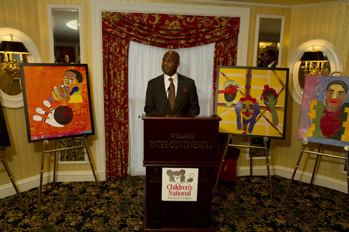 Lamell McMorris speaks to his audience at the Serving the Nation's Children reception on September 9, 2011.  ...