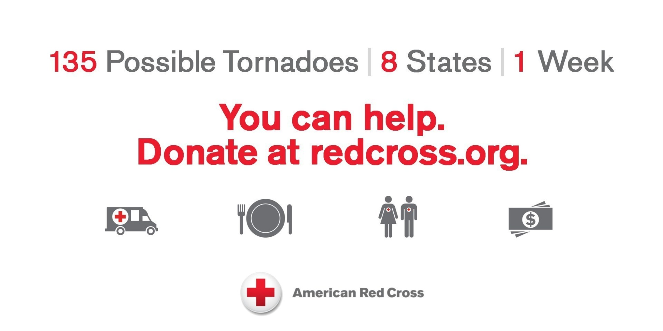 The American Red Cross is helping people in eight Midwest states after as many as 135 possible tornadoes moved through the region over the last several days.