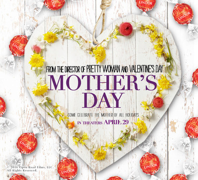 """The iconic LINDOR Milk Chocolate truffle is making a big screen appearance as the Official Chocolate of the """"Mother's Day"""" movie, premiering in theatres nationwide April 29, 2016."""