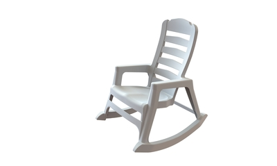 World's First Stacking Resin Rocking Chair in White (PRNewsFoto/Adams Manufacturing)