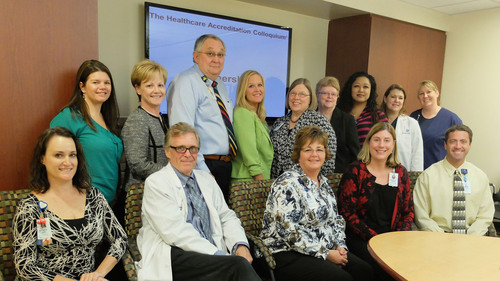 Banner Baywood Medical Center - Top Row Left: Erin Leuthold BSN, RN; Kim Despres DHA, RN; Larry Spratling, MD; Tamara Pruett, RN, CPHM, IQCI; Kathleen T. Werner, PhD, RN-BC; Darlene Friedman, RN, MBA-HCM; Faith Merriam, MSN, RN; Samantha Welch, RN; Valerie Holsinger, BSN, RN - Bottom Row Left: Stacy Agersea, RN; Mark Starling, MD; Ruthie R. Mangino, DNP, RN, ACNS-BC, NP-C; Kelly Bodnarchuk, MBA, BSN, RN; Jared Jones, PharmD, CACP (PRNewsFoto/The Healthcare Accreditation Colloquium) (PRNewsFoto/HEALTHCARE ACCRED. COLLOQUIUM)