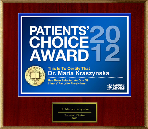 Dr. Kraszynska of Chicago, IL has been named a Patients' Choice Award Winner for 2012