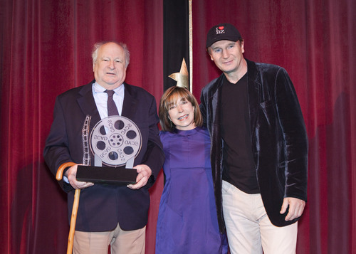 PR legend Bobby Zarem is presented a Lifetime Achievement Award by SCAD President Paula Wallace and Liam Neeson at the Savannah Film Festival, November 3, 2010.  (PRNewsFoto/Savannah College of Art and Design, Adam Kuehl)