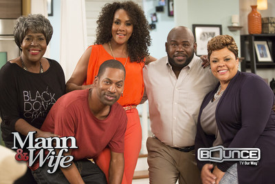 David Mann and Tamela Mann (Right) star in the new Bounce TV Original Series Mann & Wife. New episodes of Mann & Wife premiere Tuesday nights at 9pm ET/8 CT starting April 7. Mann & Wife co-stars JoMarie Payton, Tony Rock and Vivica A. Fox. Bounce TV is the nation's first-ever and fastest-growing broadcast television network designed for African-American audiences.  Bounce TV airs on the digital signals of local television stations.