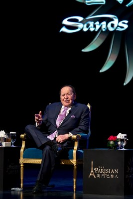 Chairman and CEO of Las Vegas Sands Corp. and Sands China Ltd. Mr. Sheldon G. Adelson participates in a Q&A session at a press conference Tuesday in Macao for the grand opening of the company's newest integrated resort on the Cotai Strip, The Parisian Macao.