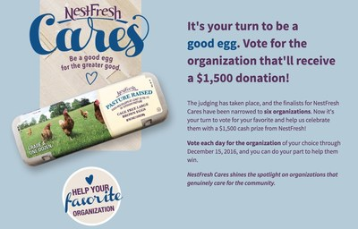 Please visit NestFresh's Facebook page where you can vote for your favorite charity to win this year's NestFresh Cares award! https://www.facebook.com/NestFreshEggs/app/1090692314278873/?ref=page_internal