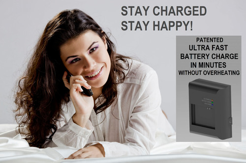 The solution is an ultra fast cell phone battery charger. The same technology is also available for ultra fast electric vehicle battery charging. Charge in minutes not hours.  (PRNewsFoto/Potential Difference, Inc.)