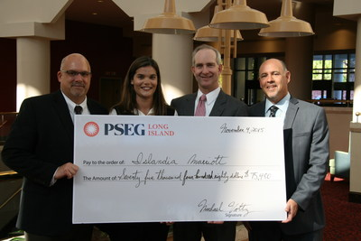 PSEG Long Island presents the Islandia Marriott with a Commercial Energy Efficiency rebate for the replacement of more than 5,000 inefficient lighting fixtures with energy-saving LED lighting.