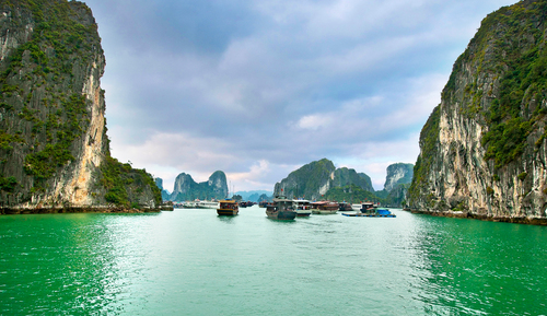 View from a Crystal ship when sailing through Vietnam's Ha Long Bay. (PRNewsFoto/Crystal)