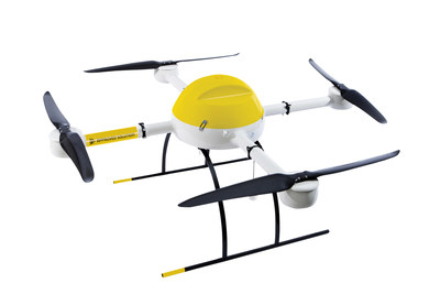 microdrones and Delair-Tech will offer surveyors proven aerial mapping solutions to make their work easier. Pictured is a microdrones md4-1000 colored in yellow, to commemorate the new partnership.