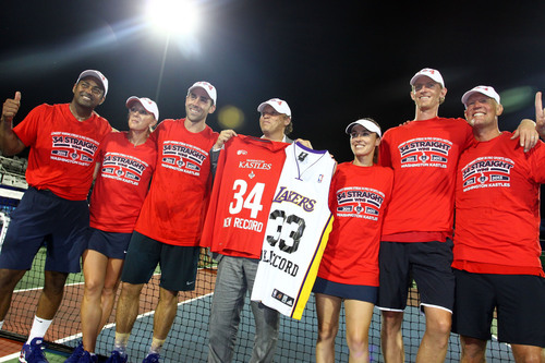 "Following their 25-12 victory, the Washington Kastles donned ""34 Straight"" T-shirts and raised jerseys ..."