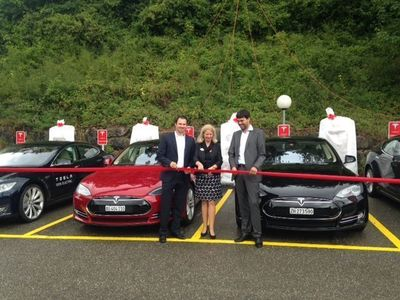 Official Ribbon Cutting at the new Supercharger Station in Egerkingen, Switzerland