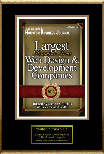 "Spotlight Creative LLC Selected For ""Largest Houston-Area Web Design And Development Companies"".  (PRNewsFoto/Spotlight Creative LLC)"
