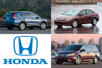 The 2012 Honda CR-V, 2012 Honda Civic and 2012 Honda Odyssey have all made Kelley Blue Book's kbb.com 10 Best Family Cars of 2012 list.  (PRNewsFoto/American Honda Motor Co., Inc.)