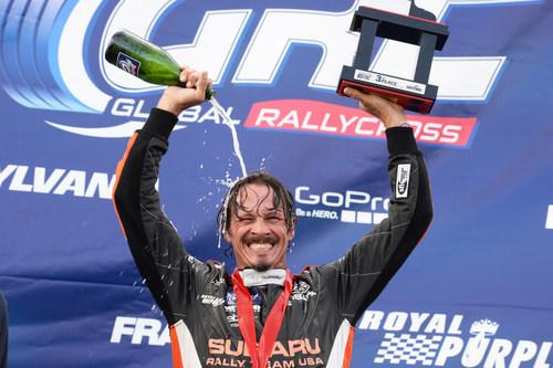 Subaru driver Bucky Lasek cools down after claiming his second GRC podium this season. (PRNewsFoto/Subaru of America, Inc.)