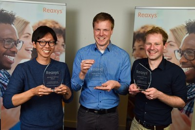 The three winners of the 2016 Reaxys PhD Prize. From left to right: Jiheong Kang, Pascal Ellerbrock and Jamie Hicks (PRNewsFoto/Elsevier)