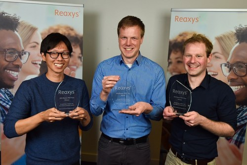 The three winners of the 2016 Reaxys PhD Prize. From left to right: Jiheong Kang, Pascal Ellerbrock and Jamie ...