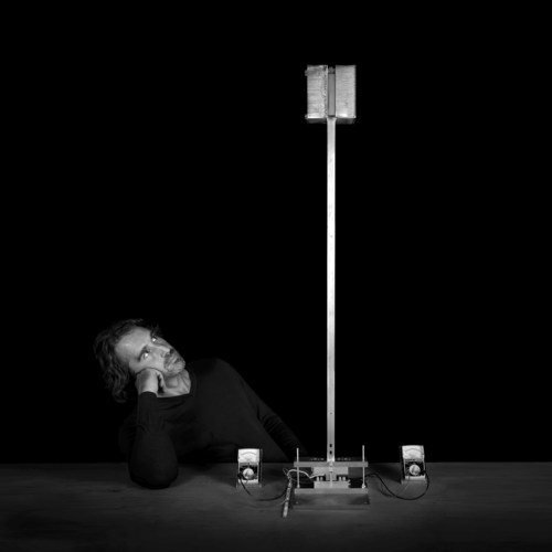 Janjaap Ruijssenaars with proof of principle of Gravity Energy invention (photo by Martin Wengelaar) ...