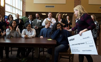 VROOM: Students from Johns Creek High School in Johns Creek, Ga., received a visit from Verizon when their carpooling app idea was named a Best in Nation winner of the Verizon Innovative App Challenge. Feb. 2, 2016.