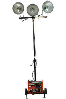 The WAL-ML-3XM-3G Mini Light Tower with 3000VA Generator from Larson Electronics is an ideal solution for operators who need a fully portable yet easy to operate light system capable of illuminating large areas. Adjustable from 7 to 12 feet in height and equipped with a 3000VA generator and three 1000 watt metal halide lamps, this unit will provide over 300,000 lumens of illumination for up to 9 hours on a single tank of fuel.  (PRNewsFoto/Larson Electronics)