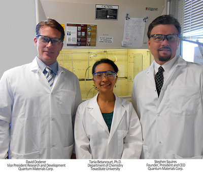 "Stephen Squires, Quantum Materials Corp Founder and CEO said, ""Texas State is an extraordinary partner for joint nanotechnology and biotech research and will expand the knowledge and acceptance of tetrapod quantum dots while at the same time finding new uses in the form of marketable products."" David Doderer, QMC VP for R&D added, ""Quantum Materials will provide sponsored research, industry training, employment, and aid course development through the partnership. The university's interdisciplinary approach and commercialization component goals ensure complete discussion on each topic area resulting in productive ideas and actions for research. It is a pleasure to work with TSU."" (PRNewsFoto/Quantum Materials Corporation)"