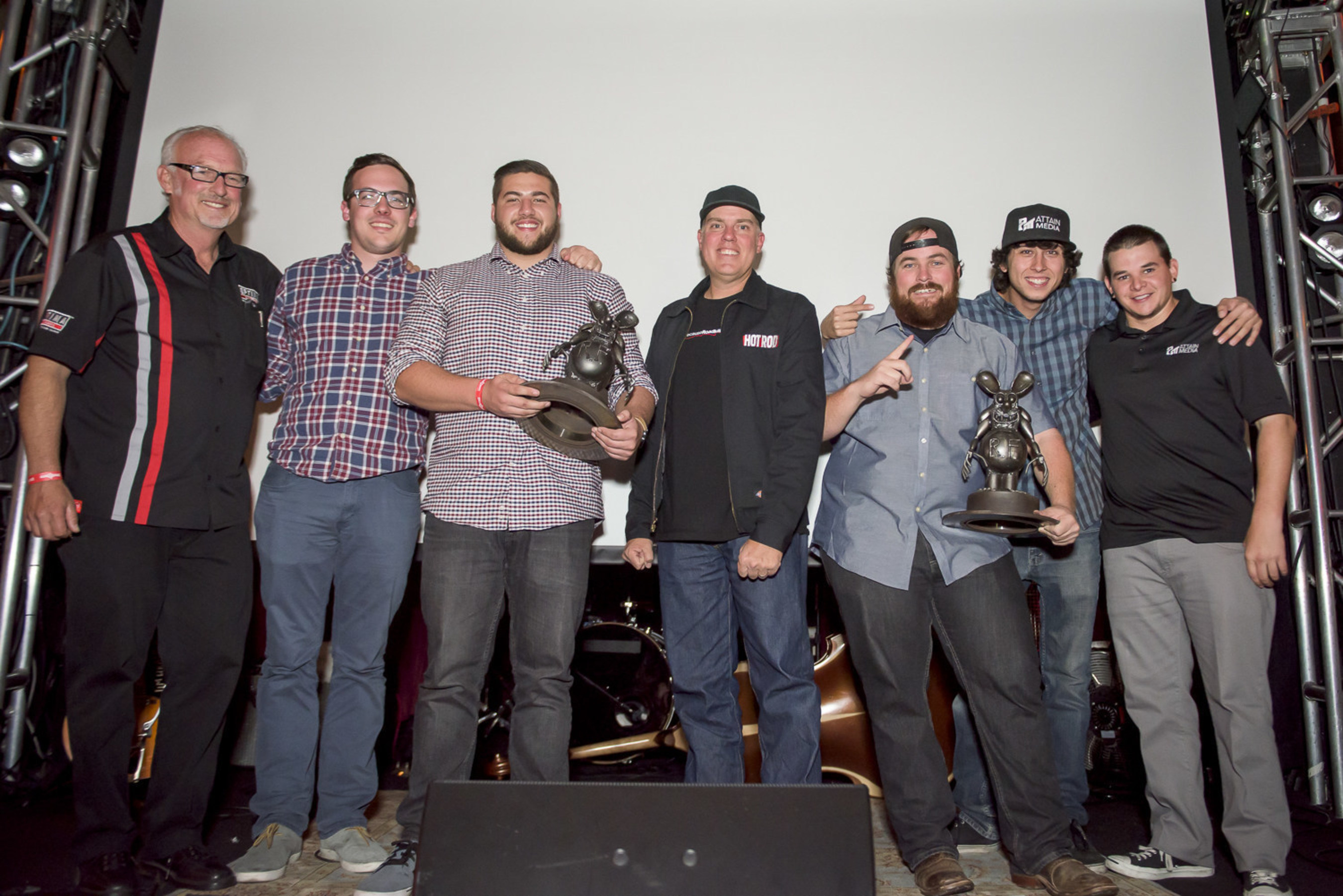 The 2015 winners of the OPTIMA Ultimate Film Festival, OPTIMA Batteries Director of Marketing Cam Douglass and host David Freiburger of 'Roadkill'