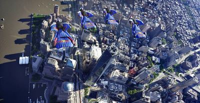 Today, the Red Bull Air Force Wingsuit Flyers flew over one of the world's most recognizable skylines, Manhattan. (Credit: Andy Farrington/Red Bull Content Pool) (PRNewsFoto/Red Bull)
