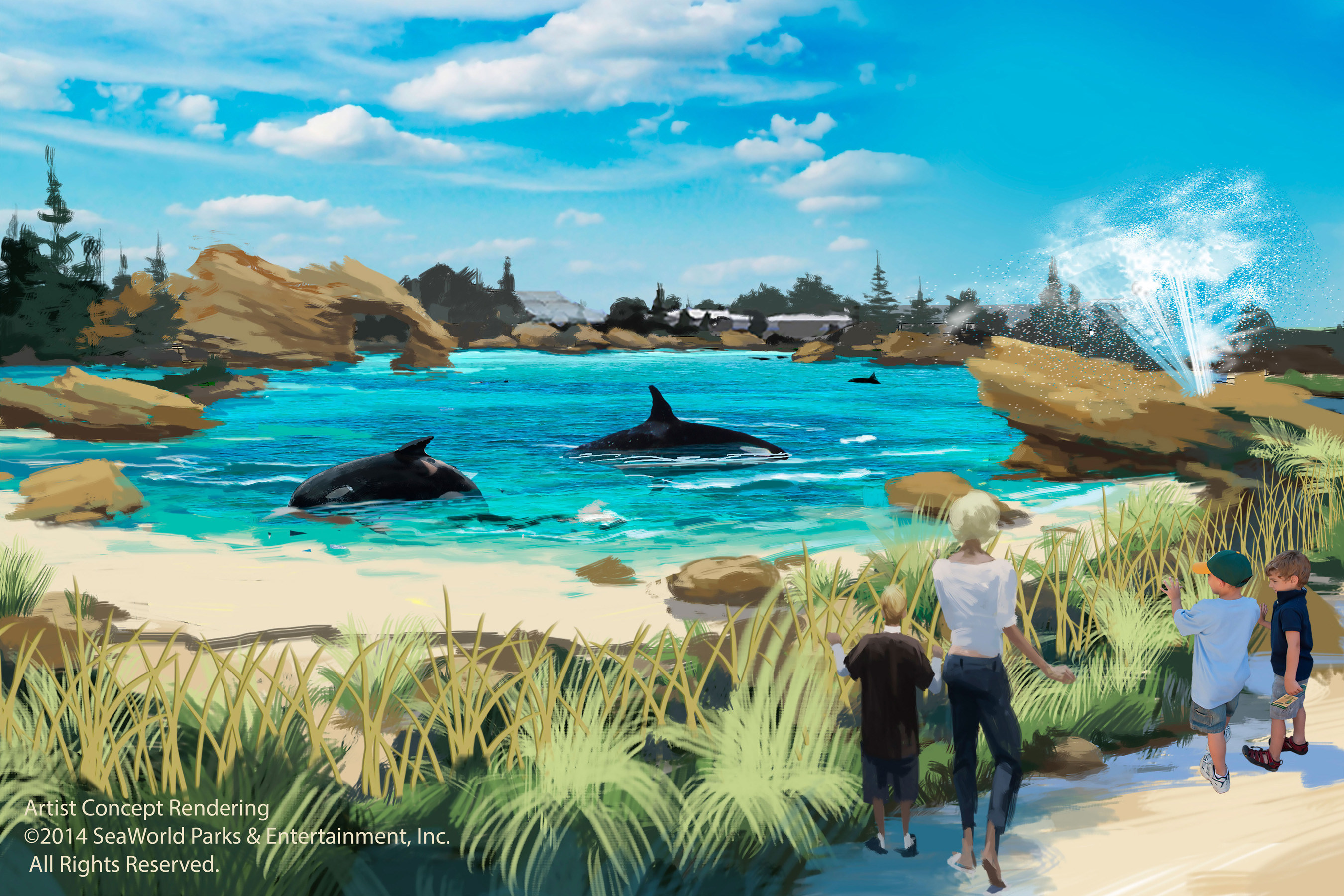 SeaWorld today announced Blue World Project, a massive expansion of the parks' killer whale environments. The first, at SeaWorld San Diego, will nearly double the size of the existing habitat, with a volume of 10 million gallons of chilled seawater. (PRNewsFoto/SeaWorld Entertainment, Inc.)