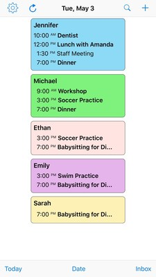 Screenshot of the family's agenda for the day. Event names in bold were created using the Skedi app.